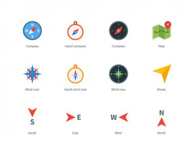 Compass and map colored icons on white background.