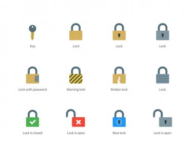 Lock and key color icons on white background.