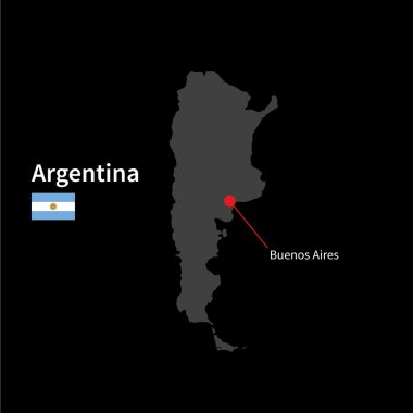 Detailed map of Argentina and capital city Buenos Aires with flag on black background