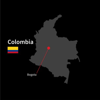 Detailed map of Colombia and capital city Bogota with flag on black background