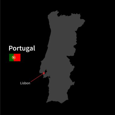 Detailed map of Portugal and capital city Lisbon with flag on black background