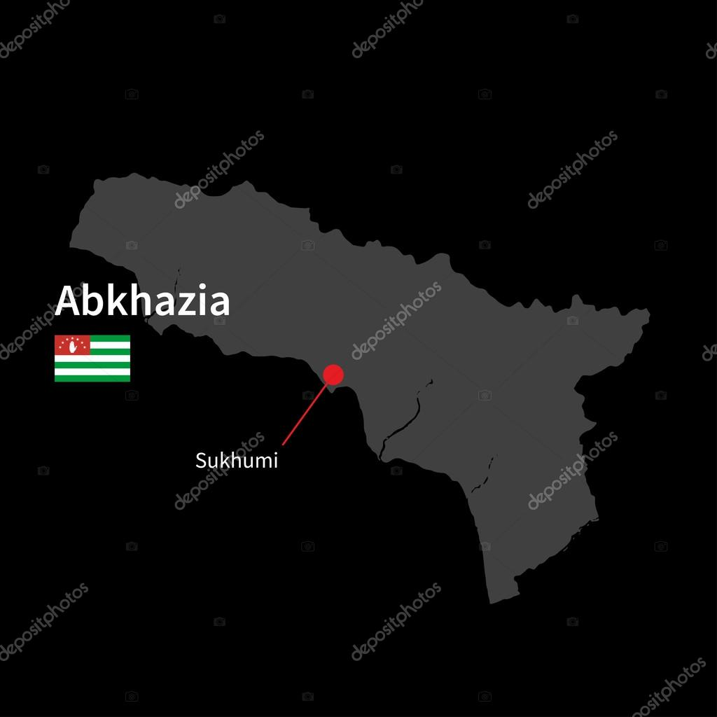 Detailed map of Abkhazia and capital city Sukhumi with flag on black