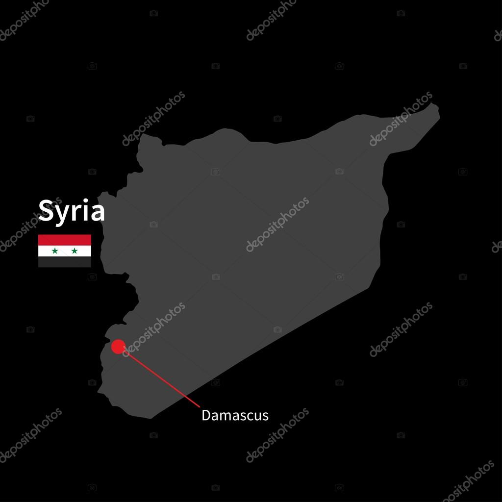 Detailed map of Syria and capital city Damascus with flag on black on