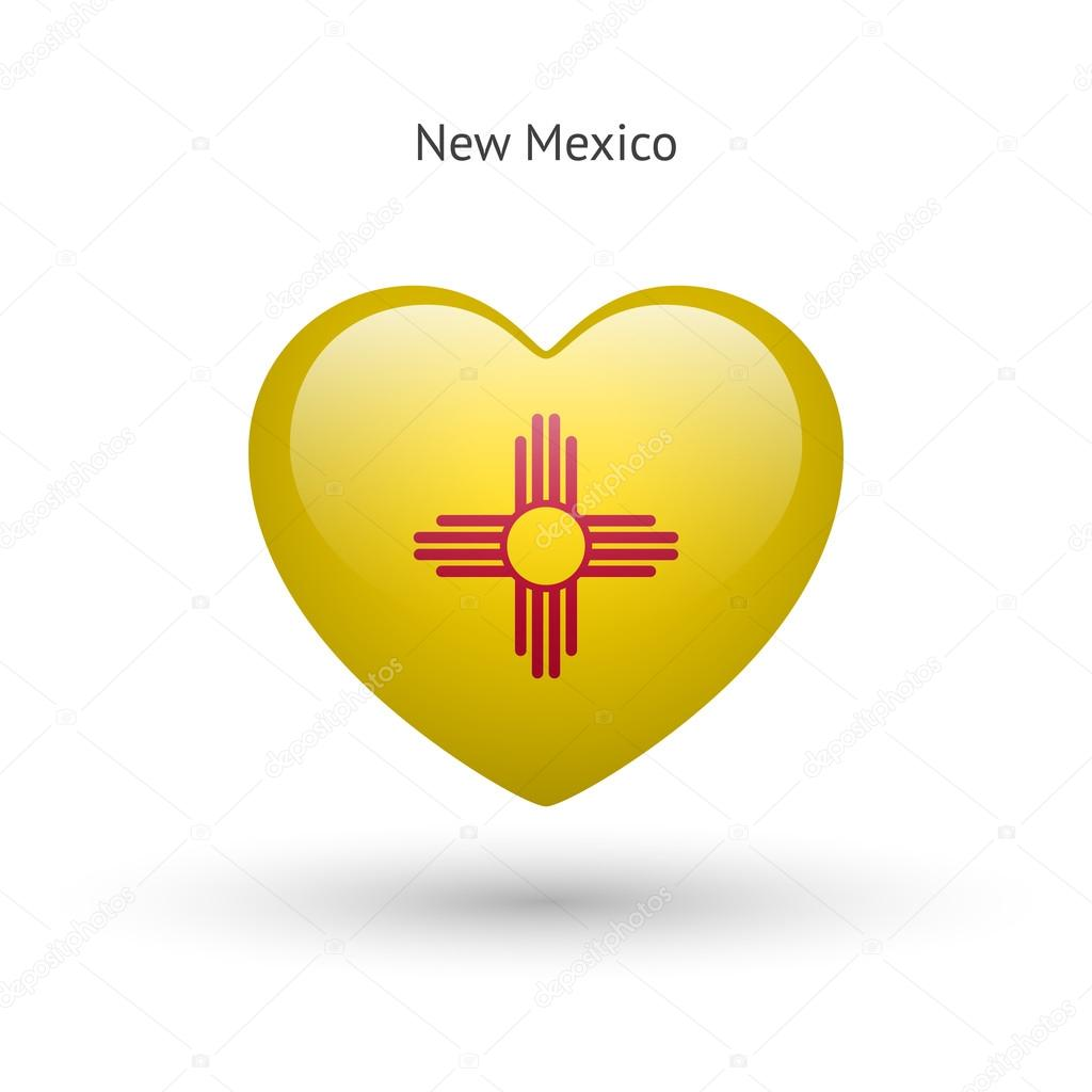 Love New Mexico State Symbol Heart Flag Icon Stock Vector