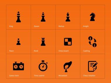 Chess Figures icons on orange background.