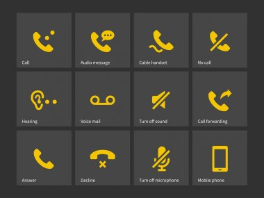 Communication, call, phone icons.