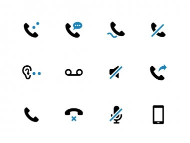 Mobile phone handset duotone icons on white background.