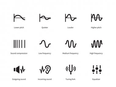 Sound waves icons on white background. Vector illustration stock vector