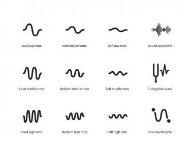 Sound waves set icons on white background. Vector illustration stock vector