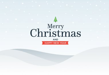 Classic Marry Christmas background with  green three, snow, snowflakes