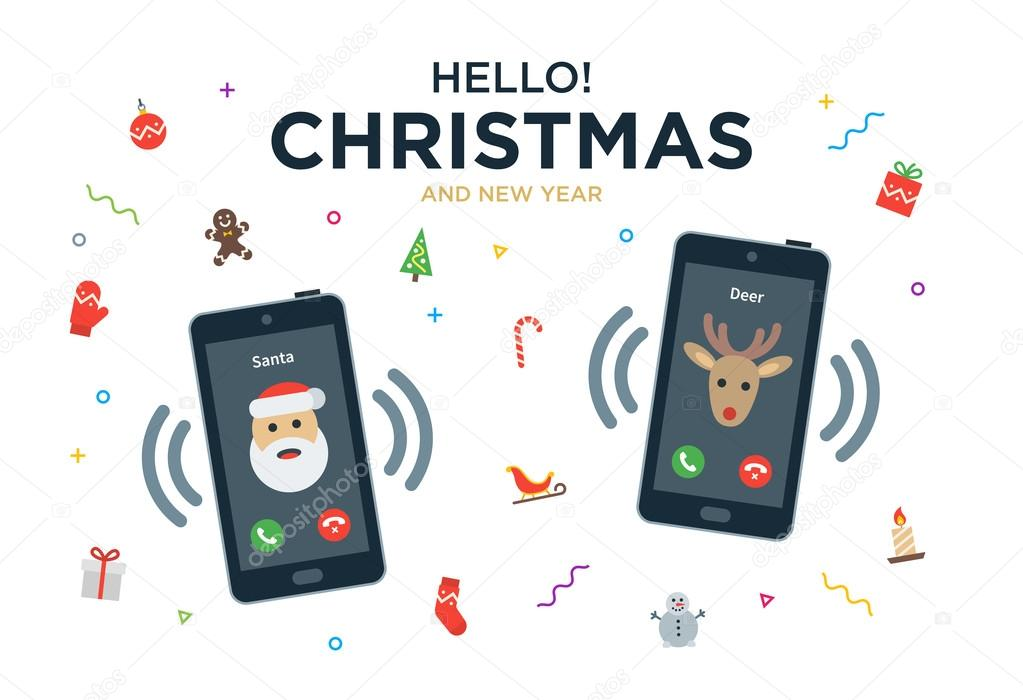 Christmas greeting card with phone call from santa claus and christmas greeting card with phone call from santa claus and reindeer stock vector m4hsunfo