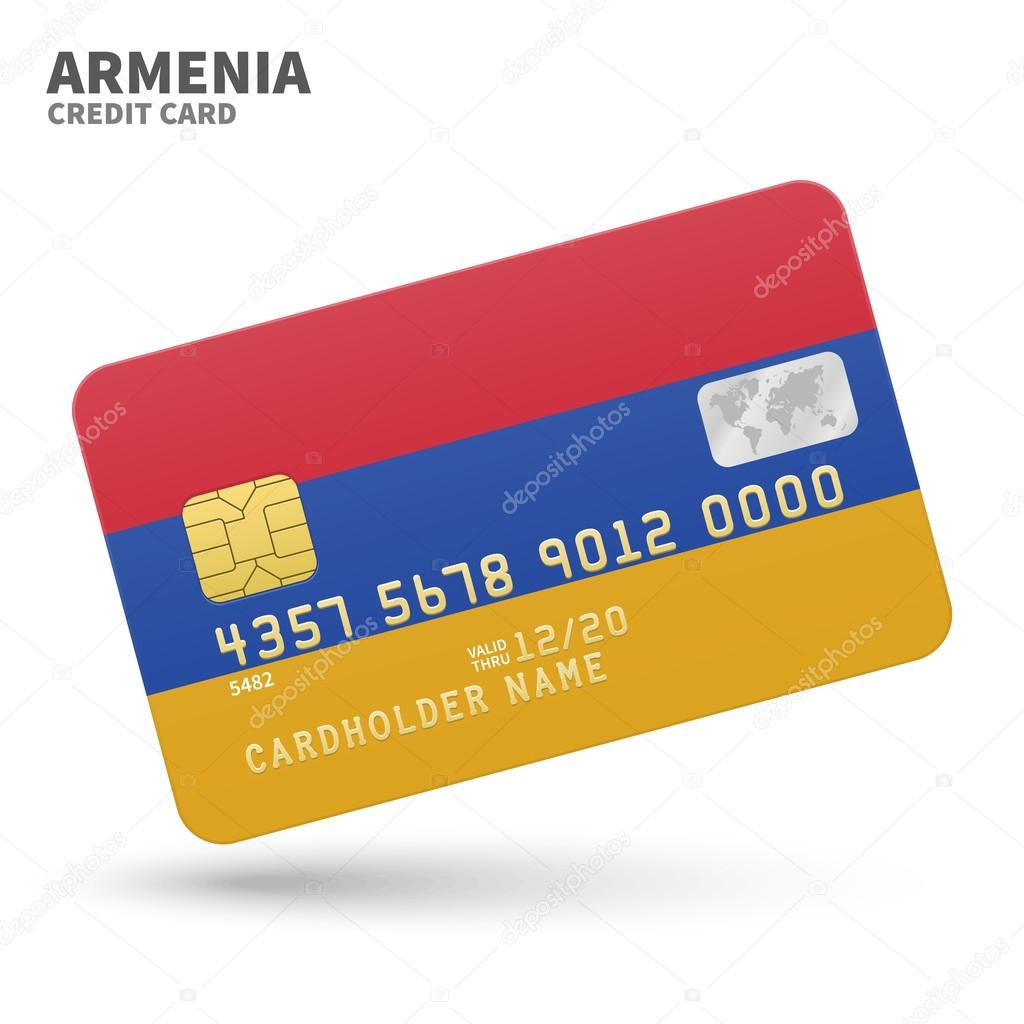 Credit card with armenia flag background for bank presentations and credit card with armenia flag background for bank presentations and business isolated on white reheart Image collections