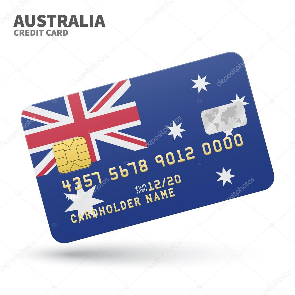 Credit card with Australia flag background for bank, presentations ...