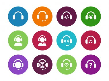 Headset circle icons on white background. Vector illustration stock vector