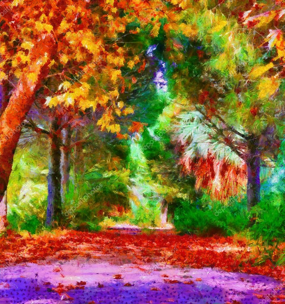 Colorful autumn trees digital painting with Monet style brushstrokes ...
