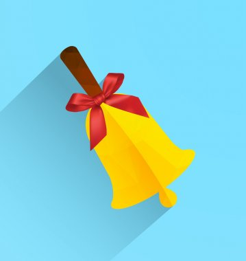 Polygonal bell with ribbon bow, modern flat icon with long shadow