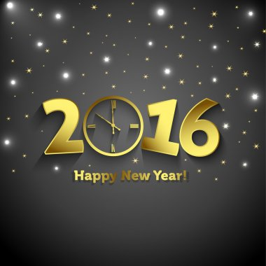 2016 Happy New Year  with clock