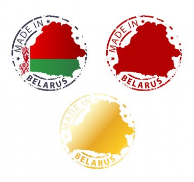 Made in Belarus stamp - ground authentic stamp with country map