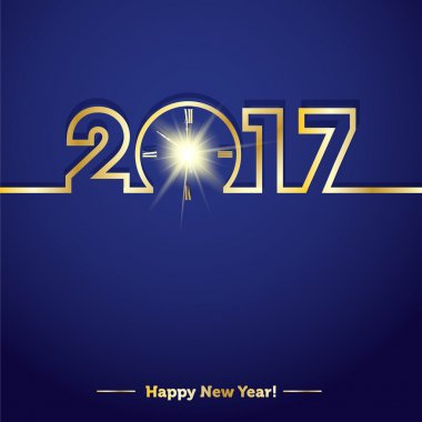 2017 Happy New Year with creative midnight clock