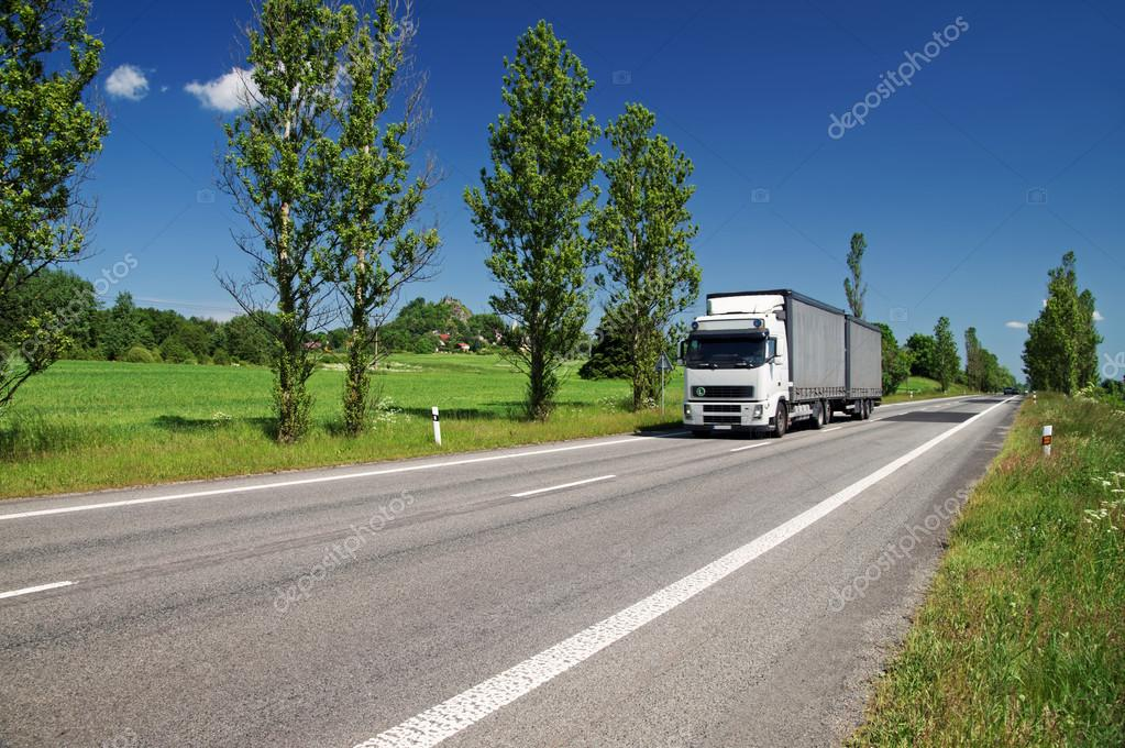Road lined with poplar alley in the countryside, passing white truck