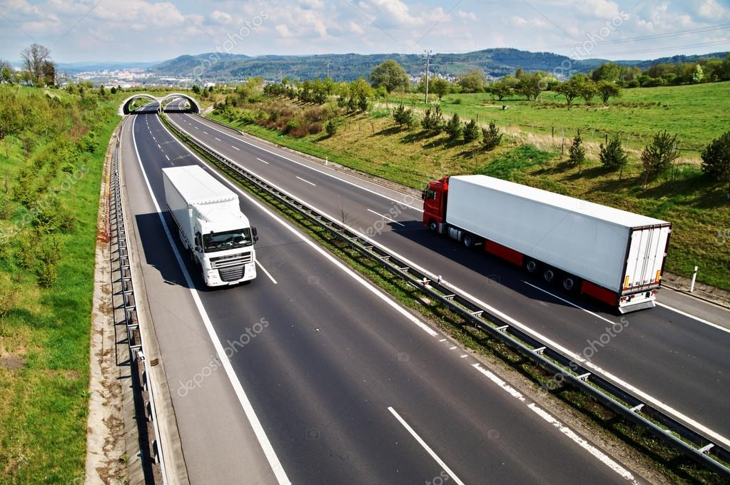 Corridor highway with the transition for animals, going down the highway two trucks