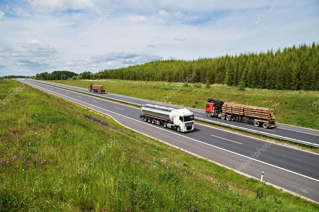 Highway rising flowering meadows. Tank and lorries transporting round timber.