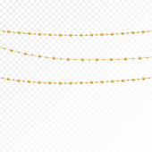 Gold beads on a white background.Set of gold beads and gold chains.Different models and forms of gold beads.Realistic image of beads. Vector illustration.