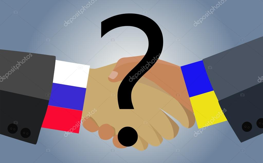 Image of a handshake between the two countries - Ukraine and Russia with a question mark in the foreground.