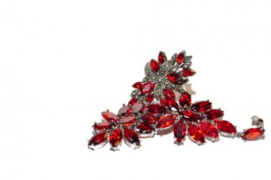 Red earrings with precious stones