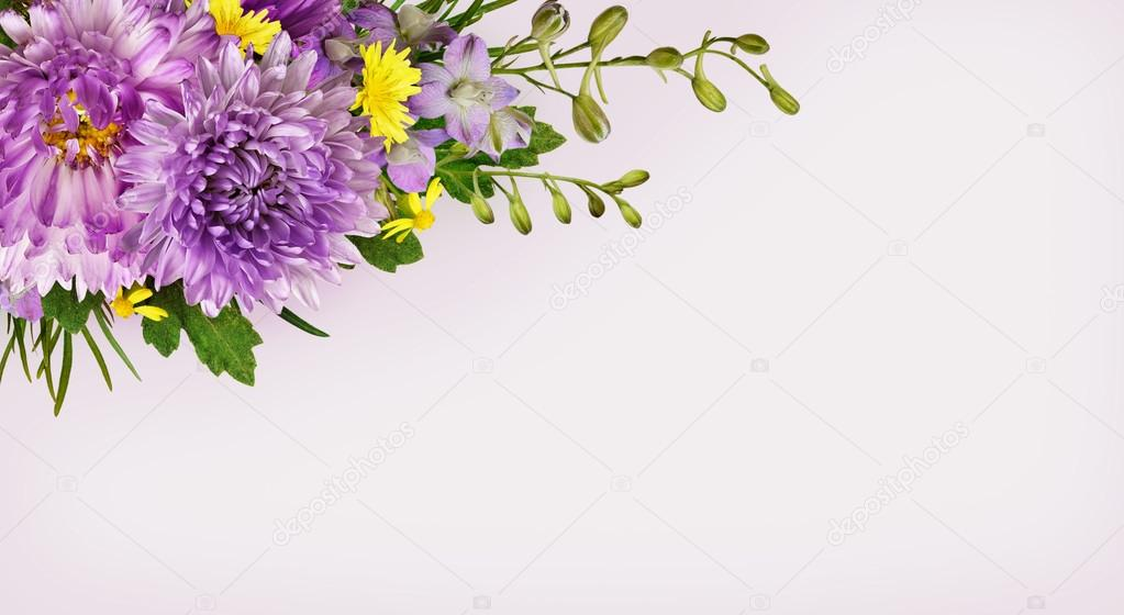 Purple and yellow flowers corner arrangement stock photo ksushsh purple and yellow flowers corner arrangement stock photo mightylinksfo