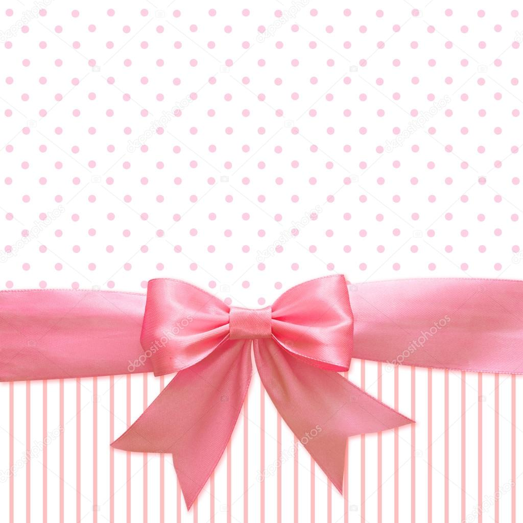 Cinta de seda rosa y lazo para el fondo — Foto de stock © ksushsh ...