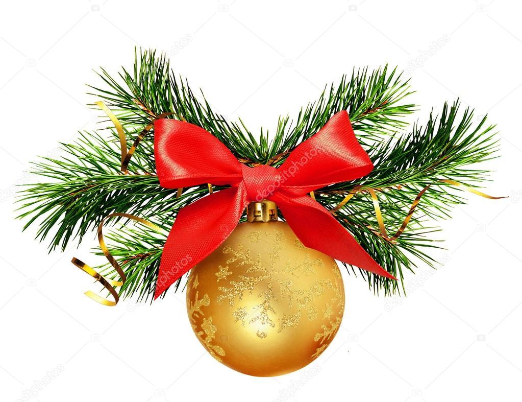 Kerstdecoraties Met Rood : Kerstdecoratie met dennen takjes gouden bal en rood lint