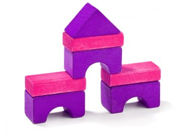 Pink and purple wooden blocks on white stock vector