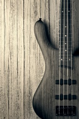 bass on wood vintage photo