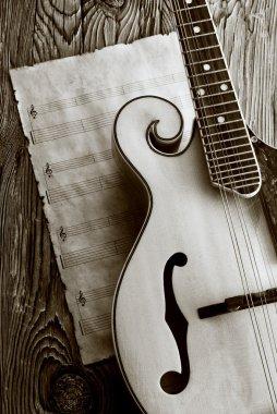 mandolin with music sheet