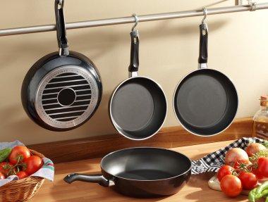 set of black frying pans