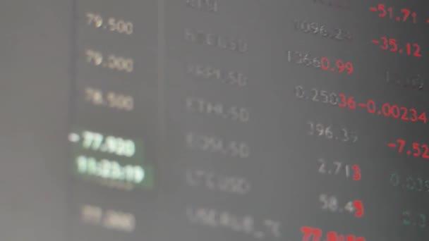 Nahaufnahme von Börsenvorstand und Börsendiagramm mit realem Handel