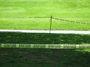 Taped Off Grass Area