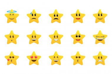 Funny cartoon star character emotions set. Star emoji. Cute emoticons. Face icon. Collection of difference emoticon icon of cute star cartoon icon