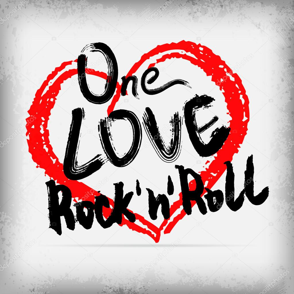 Rock n roll poster design - One Love Rock N Roll Poster Handwritten Design Vector By Daughter