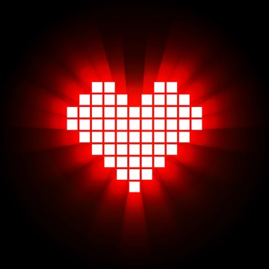 Shining pixel heart for Valentine's day designs, Online dating,