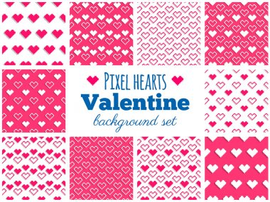 Vector set of seamless pixel art heart patterns for Valentine's
