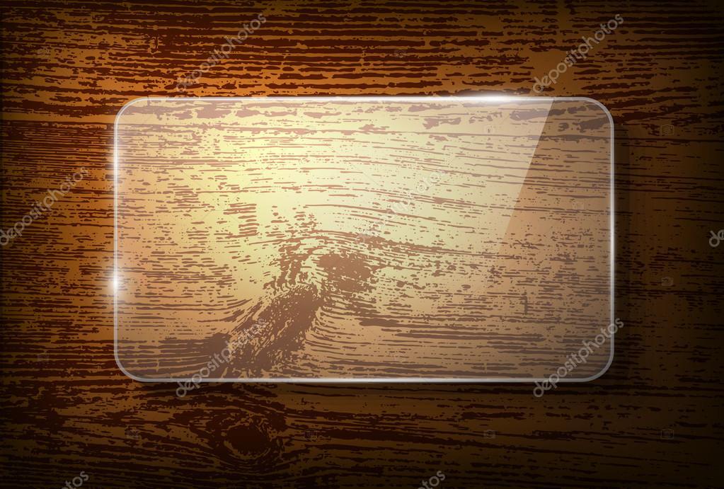 Marco de cristal de vector sobre fondo de madera vintage — Archivo ...