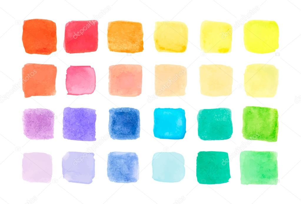 Watercolor paints palette, vector illustration