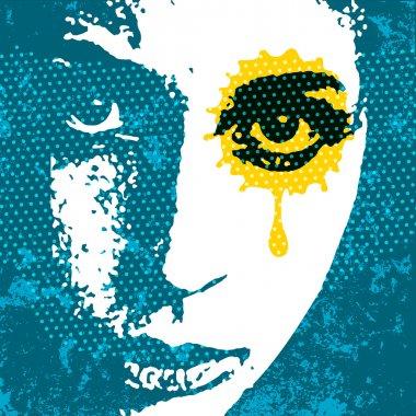 Grunge style digital pop art portrait. Young female portrait wit