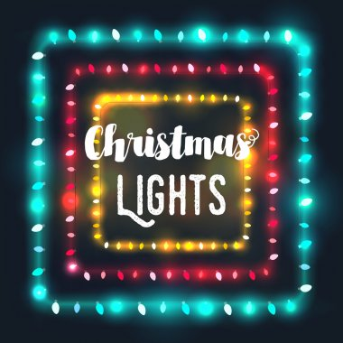 Three square Christmas light borders of different colors for hol