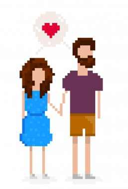 Hipster couple is in love and holding hands. Pixel art for Valen