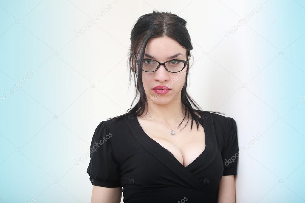 Sexy Schwarzes Mädchen Brille