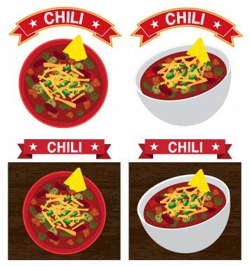 Chili con carne bowl illustration