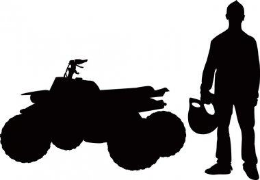Quad bike and rider boy isolated silhouette vector